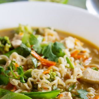 Not your normal chicken noodle soup, this Asian Chicken Noodle Soup combines chicken, lots of veggies and ramen noodles in an Asian-inspired broth. This is a sure way to warm your belly!