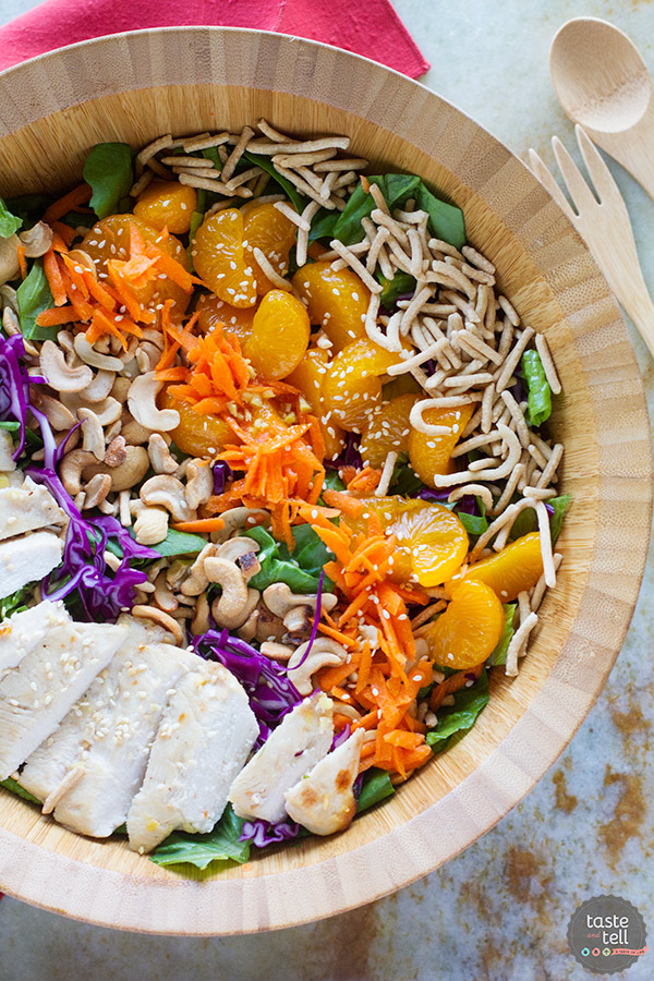 Salty, sweet and savory, this Asian Ginger Chicken Salad is the perfect lunch or easy dinner. Filled with mandarin oranges, chow mein noodles, cashews, ginger marinated chicken and much more, this salad is filling and crave-worthy!