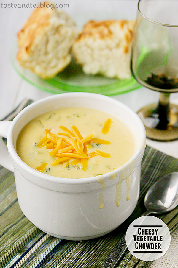 Lots of veggies are cooked into a cheesy, creamy Cheesy Vegetable Chowder.