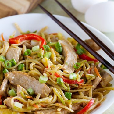 Pork and vegetables are combined with linguine and eggs in this easy Egg and Pork Lo Mein. Dinner is served for under 500 calories!