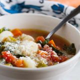 This vegetable minestrone recipe has an addition of gnocchi for a heartier, comforting soup recipe. This Minestrone Recipe with Gnocchi is perfect for any cool night!