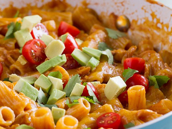 Great flavors come together in one pan in this One Pan Enchilada Pasta. It's got the Tex-Mex flavors that mom and dad love, while being mild enough for the kids. And there's only one pan to clean when it's done!