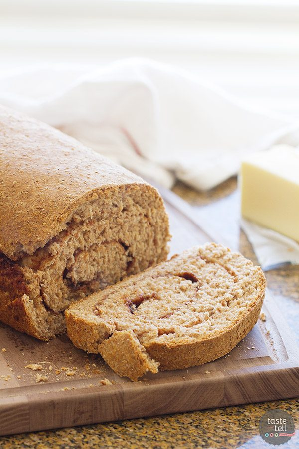 This Whole Wheat Cinnamon Swirl Bread is an easy 100% whole wheat bread, filled with a swirl of cinnamon and sugar. My favorite is to eat a warm slice with a smear of butter!