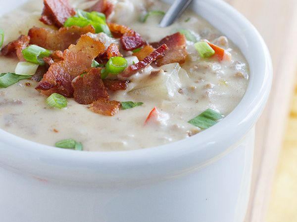 Creamy and hearty, this Bacon Cheeseburger Chowder adds the flavors of a bacon cheeseburger into a comforting bowl of thick chowder.