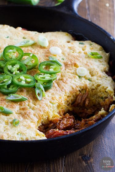 A delicious comfort meal doesn't have to be difficult! This Cornbread Topped BBQ Pork takes pork that has been slowly cooked in an easy bbq sauce and then tops it with a spicy cornbread.