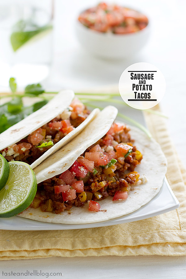 These sausage and potato tacos are a great way to put a spin on taco night. Hearty and filling and easy, they can't be beat!