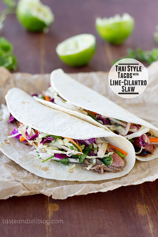 Tacos take an Asian turn with these Thai Style Tacos – filled with marinated steak and a easy Lime-Cilantro Slaw.