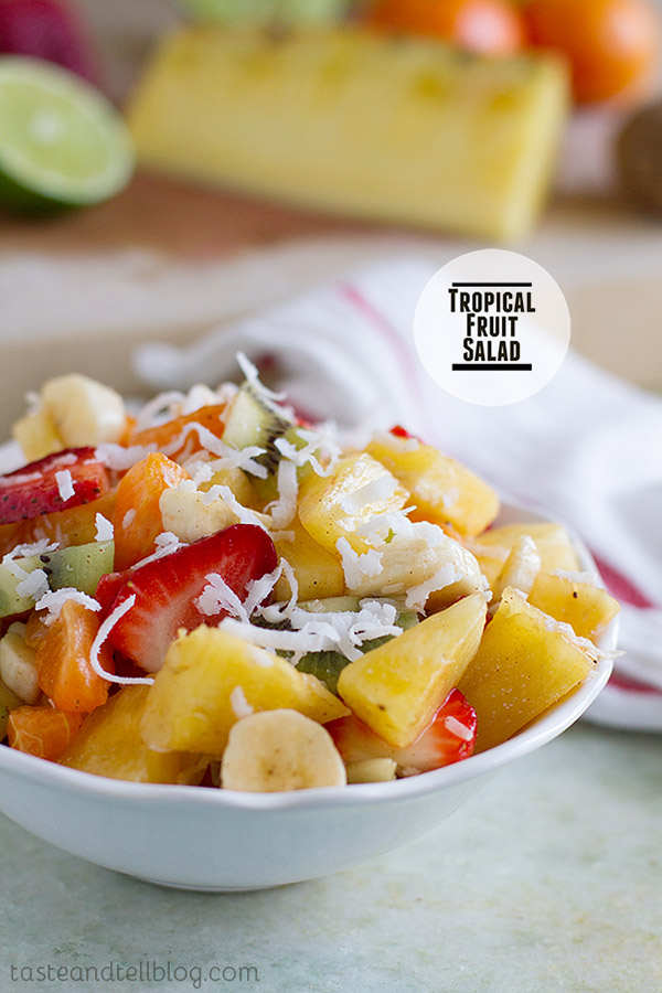 Bring some brightness and sunshine to your plate with this sweet Tropical Fruit Salad that makes you think you are in the tropics.