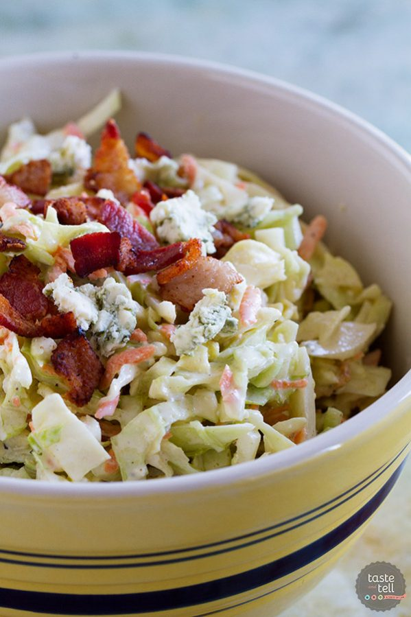 Coleslaw does not have to be boring, and this Bacon Blue Cheese Coleslaw proves that!! Crunchy cabbage, salty bacon and bold blue cheese bring this coleslaw to a new level.