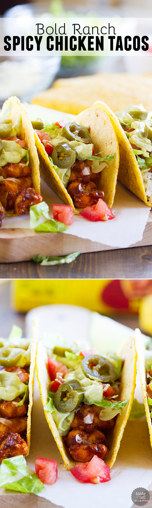 A little bit spicy and a little bit cool, these Bold Ranch Spicy Chicken Tacos have it all! Cool off from the spiciness of the chicken with the ranch taco shells. The creamy avocado sauce adds the perfect finish!