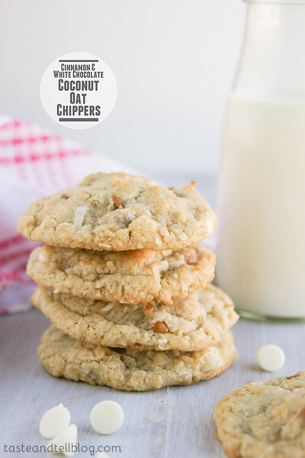 Cinnamon, white chocolate and coconut are combined in these delicious, soft Cinnamon White Chocolate Coconut Oat Chippers cookies.