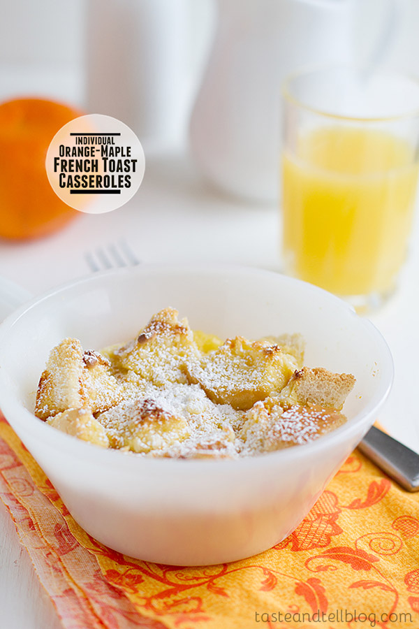 These Orange-Maple French Toast Casseroles are individual breakfast casseroles that are infused with fresh orange and maple for a breakfast dish that can be made ahead of time. Perfect for special company or a holiday morning!