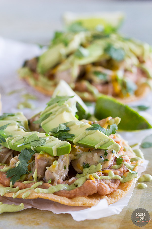 An easy Mexican dinner at home, these Chicken Tostadas with Poblano Cream Sauce have tons of flavor and are perfect for a weeknight. My family loved these!
