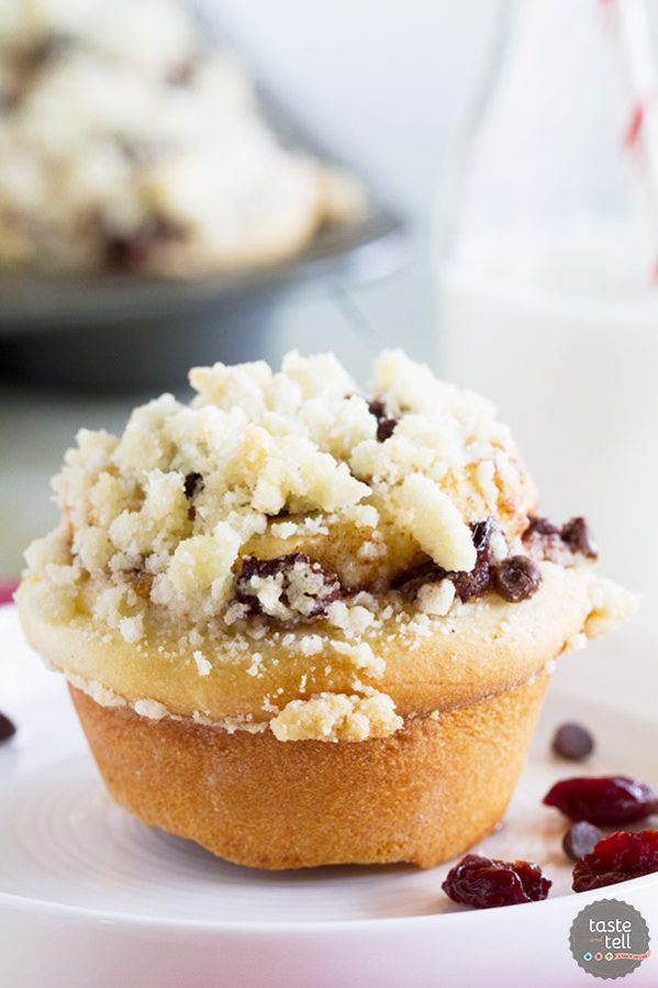 Sweet bread rolls are filled with cherries, chocolate and plenty of cinnamon sugar and then are topped with a crunchy streusel. You can't go wrong with these Chocolate Cherry Streusel Rolls!