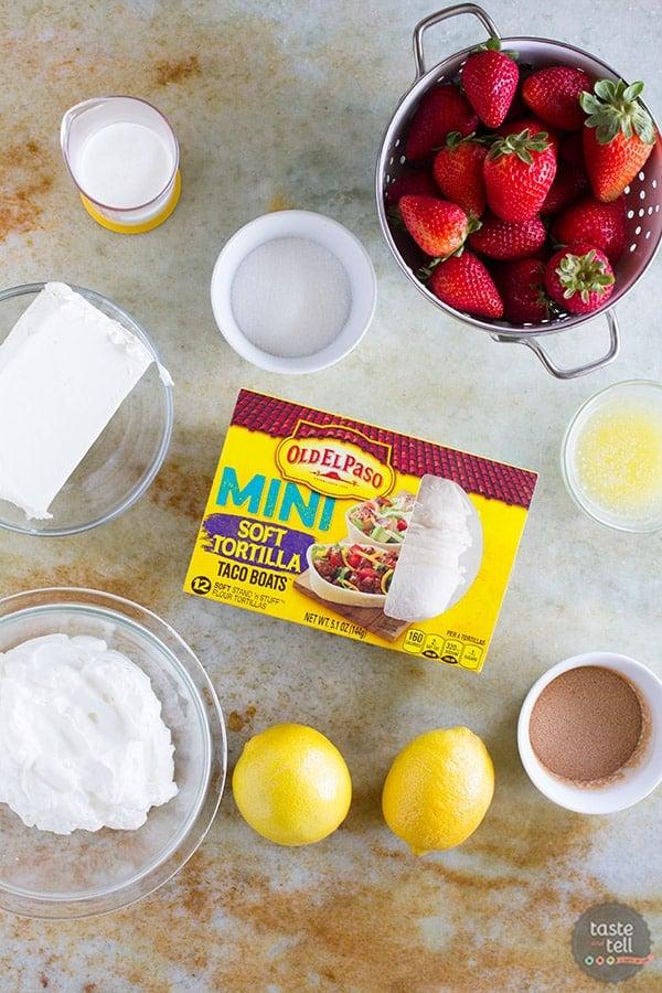 Ingredients for Lemon Cream Taco Boats