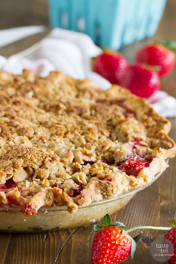 Sweet, fresh strawberries are topped with a spiced crumble topping in this Strawberry Crumble Pie that makes the perfect summertime dessert.