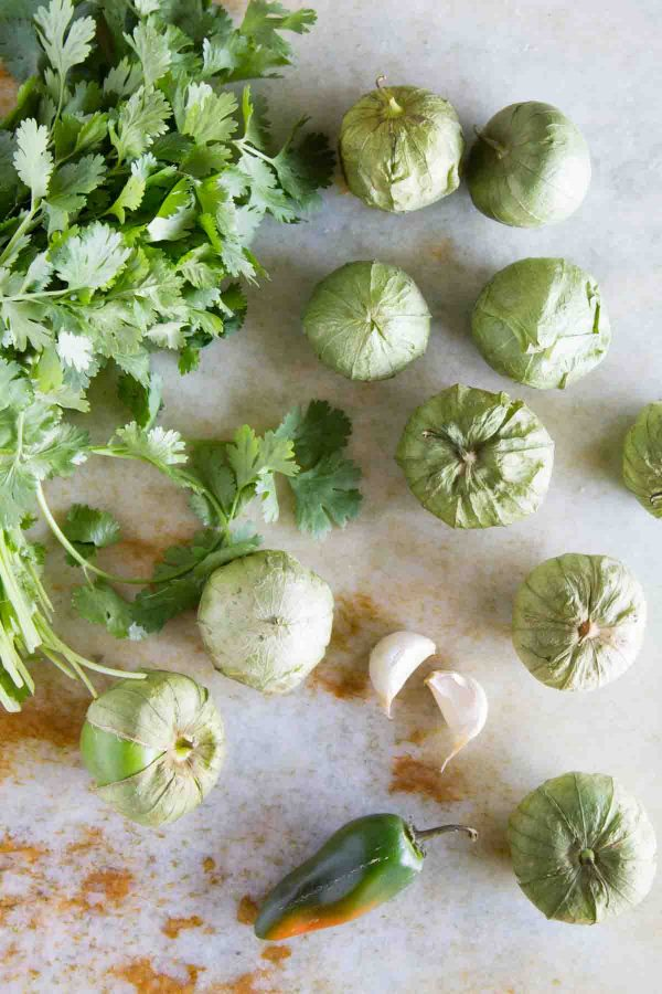 Ingredients for Tomatillo Salsa