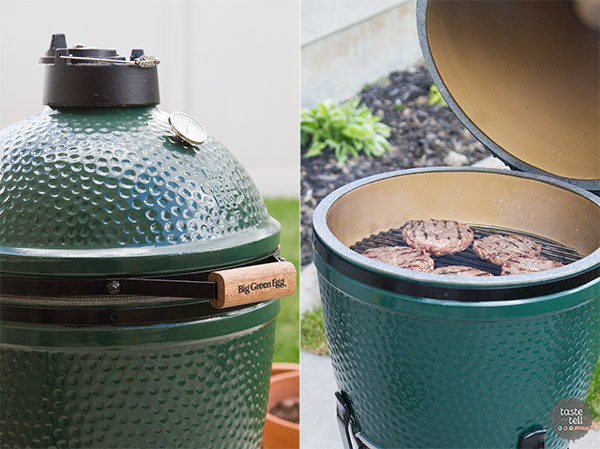 Triple Pork Burgers on the Big Green Egg