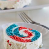 Show off your red white and blue with this festive 4th of July Cake Roll. Your guests will be amazed when you cut into it, revealing the patriotic colors.