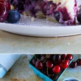 Hit up the farmer's market for fresh cherries and blueberries and turn them into this Cherry and Blueberry Cream Pie! Fresh berries are combined with a creamy sour cream filling and topped with plenty of streusel for a perfect summer pie.