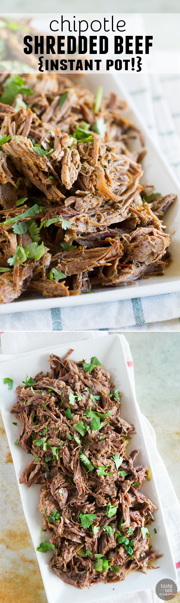 Tender and flavorful, this pressure cooker Chipotle Shredded Beef has just the right amount of spice and is perfect for tacos or burritos. And you can't beat the cooking time!