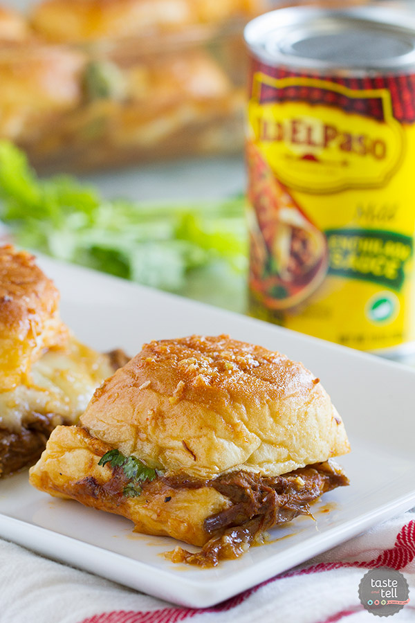 Leftover shredded beef? Turn it into these Enchilada Beef Sliders. Savory, a little bit sweet and a little bit spicy, they are sure to be a crowd pleaser!