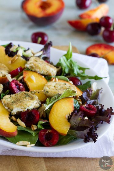 The perfect combination of sweet and savory, this Stone Fruit Salad with Fried Goat Cheese takes advantage of summer peaches and cherries and combines them with fried goat cheese coins that you'll want to add to every salad. Such a great summer salad!