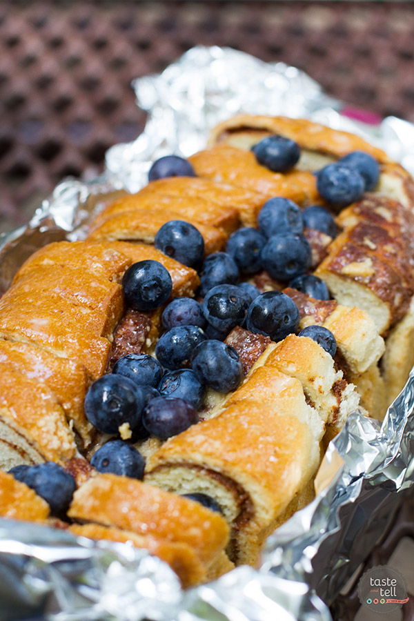 How to make this Campfire Cinnamon Blueberry Bread Recipe.