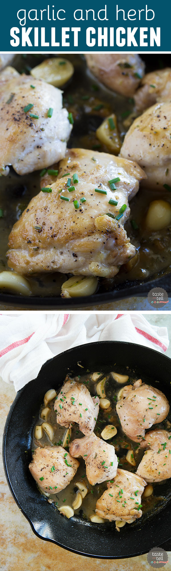Finished in 30 minutes, this easy Garlic and Herb Skillet Chicken has tons of flavor with very little effort. And the cleanup is easy, too!