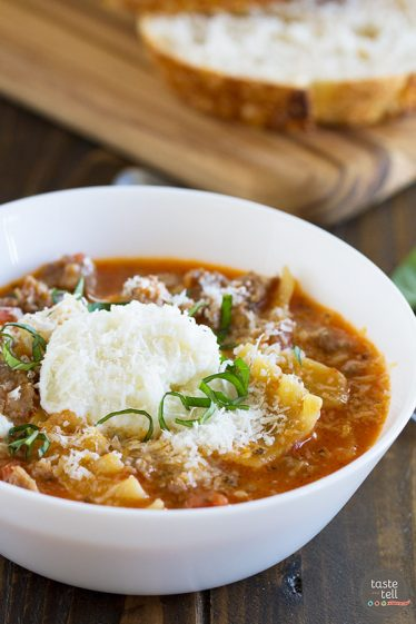 All of the flavors of lasagna in this easy, comforting Lasagna Soup Recipe! This soup is the perfect way to warm up with a taste of Italy.