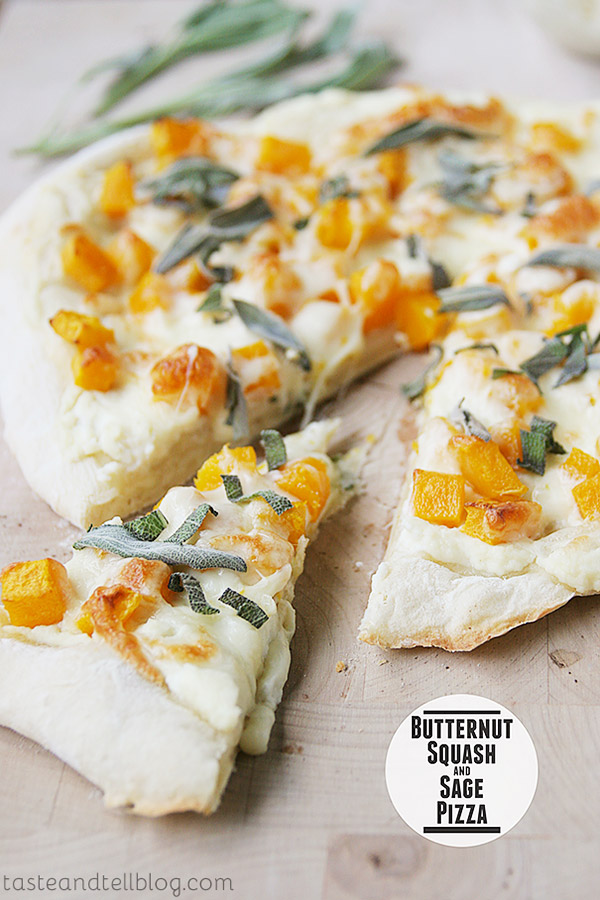 This Butternut Squash and Sage Pizza is pizza that is topped with ricotta, mozzarella and roasted butternut squash, then finished with fresh sage.