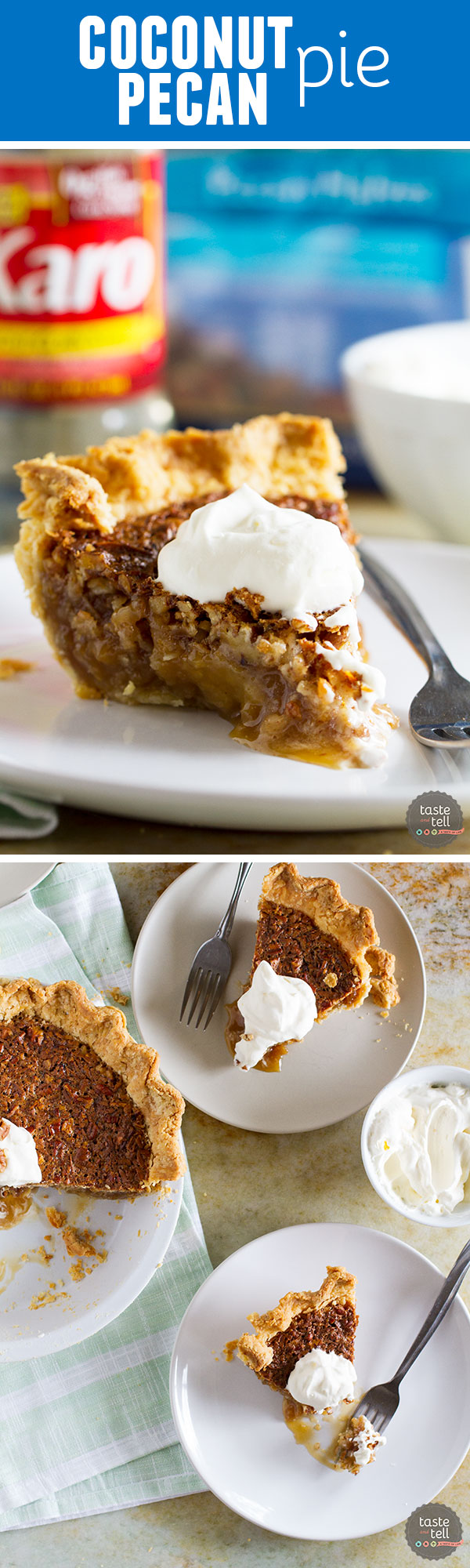 Sweet and gooey, this Coconut Pecan Pie is the perfect way to change up a traditional pecan pie.