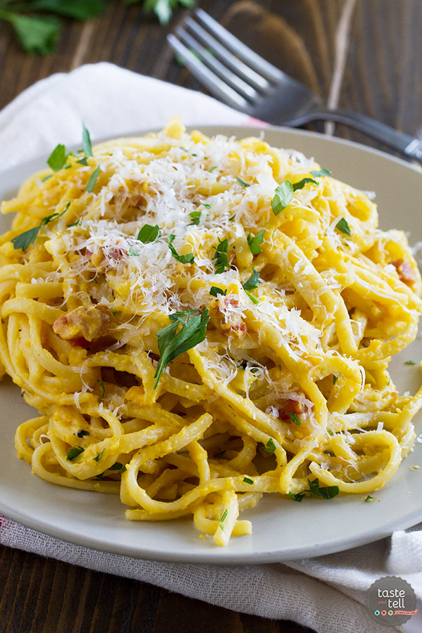 Roasted, pureed butternut squash is the base of this Creamy Butternut Squash Pasta - the perfect, comforting fall dinner.