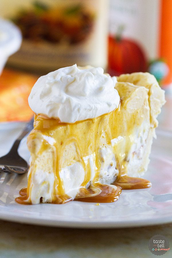 Change up your holiday pie with this non-traditional pumpkin pie recipe. This Pumpkin and Butter Pecan Ice Cream Pie Recipe is fun and easy!