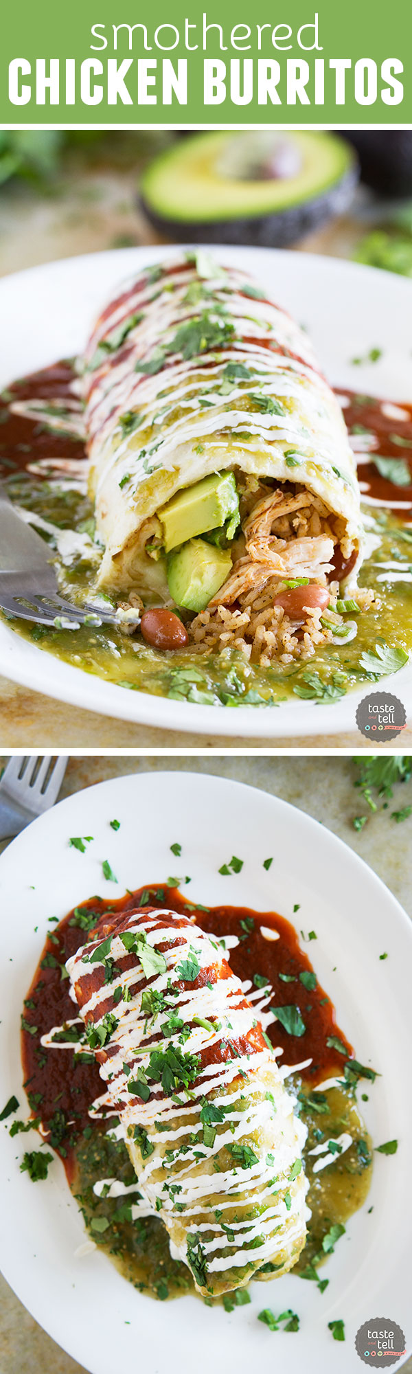 Covered in red, green and white (the Mexican flag colors), these Smothered Chicken Burritos bring the flavors of Mexico to your dining room table.