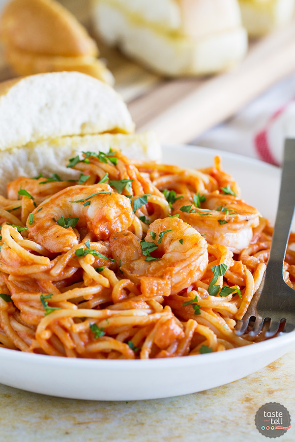 Easy enough for a weeknight, but fancy enough for a dinner party, this Creamy Tomato Pasta with Shrimp is creamy and cheesy and so packed full of flavor.