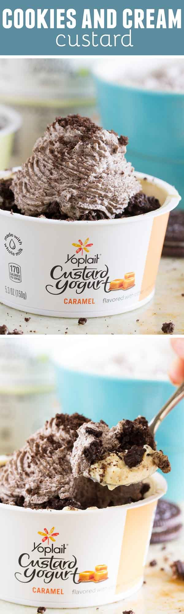 Need a sweet treat quick? This Cookies and Cream Custard tops custard yogurt with cookie crumbs and cookie infused whipped cream for a fast and tasty treat.