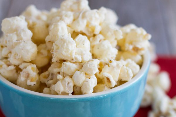 A light eggnog flavor makes this Eggnog Spiced Popcorn a family friendly holiday treat.