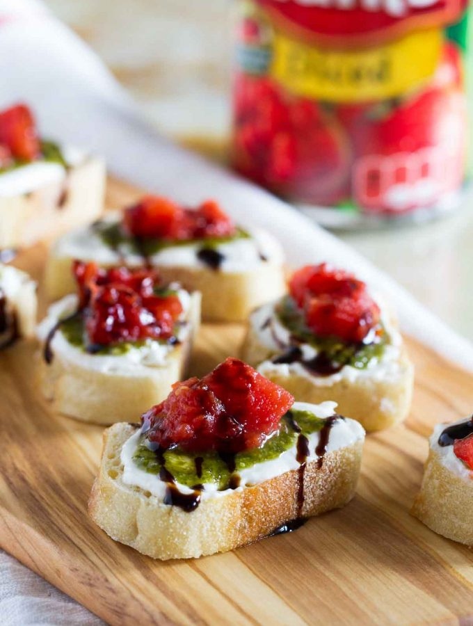 Feta, Pesto and Tomato Bruschetta
