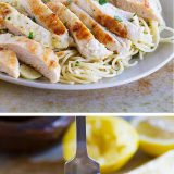 A light lemon flavor is the star of this pasta dish with lemon and garlic scented pasta, topped with a slightly crispy lemon chicken. This Lemon Chicken Pasta is a weeknight winner!