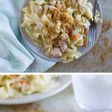 The flavors of chicken pot pie - in pasta form! This Chicken Pot Pie Ragu combines a creamy chicken gravy with pasta for a comforting, warming dinner.