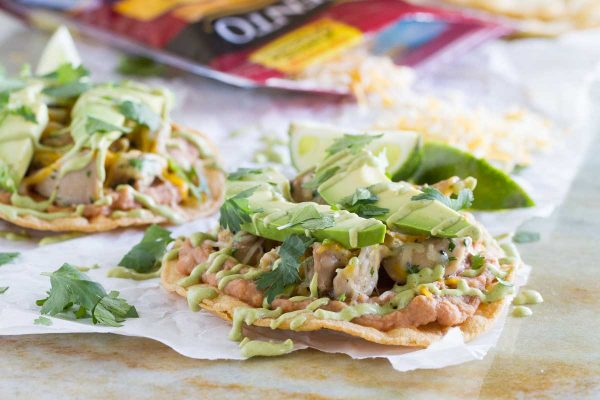 An easy Mexican dinner at home, these Chicken Tostadas with Poblano Cream Sauce have tons of flavor and are perfect for a weeknight.
