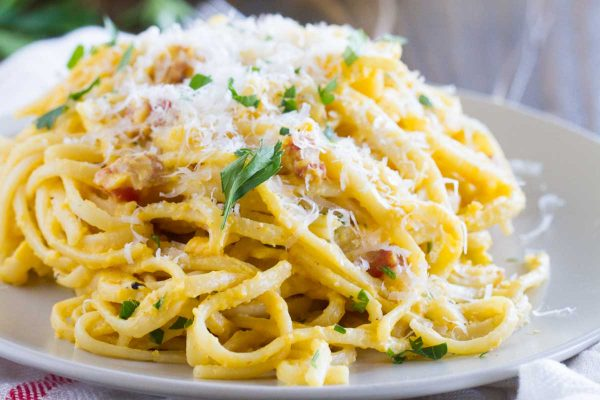 Roasted, pureed butternut squash is the base of this Creamy Butternut Squash Pasta – the perfect, comforting fall dinner.