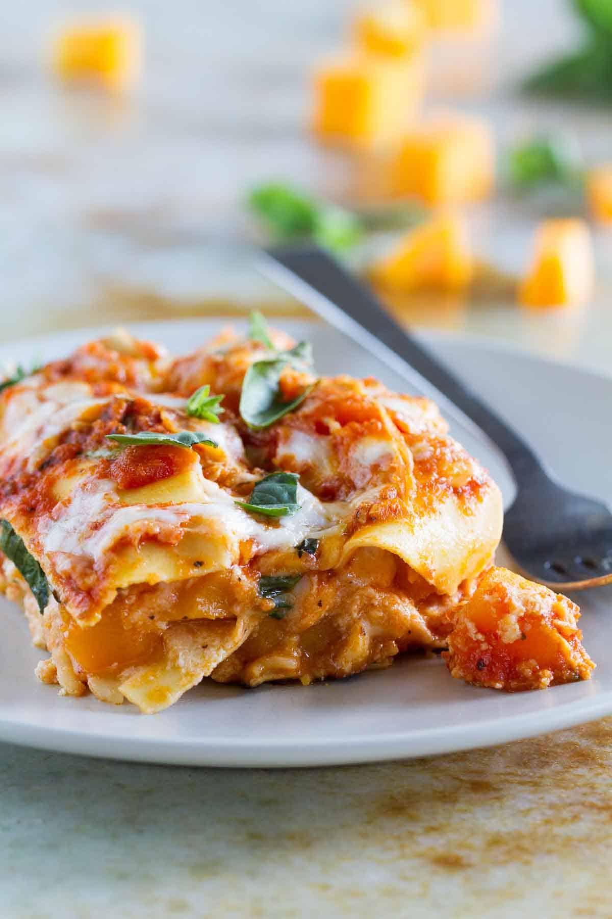 slice of skillet butternut squash lasagna