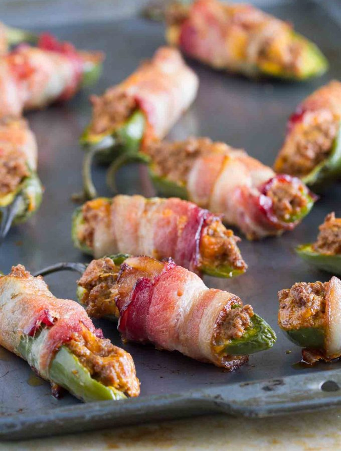 Taco Stuffed Bacon Wrapped Jalapeno Poppers