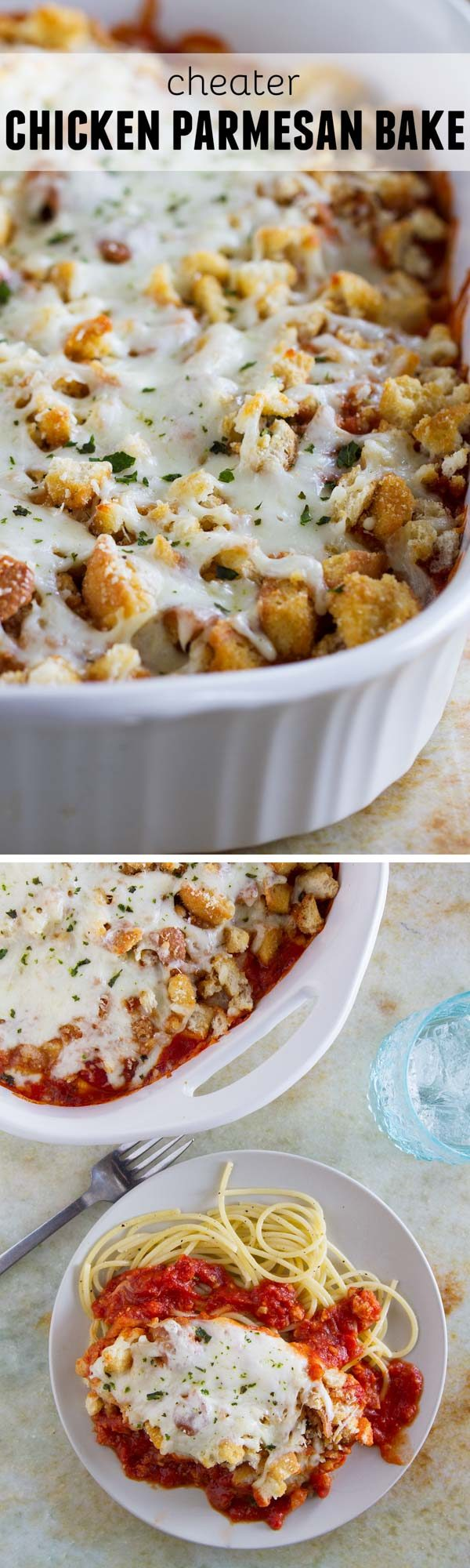 Forget the time and effort of breading and frying chicken - this Cheater Chicken Parmesan Bake gives you the same flavors and crispy texture from chicken parmesan with half the effort!