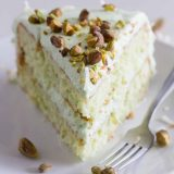 Layered Coconut and Pistachio Pudding Cake