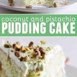 Coconut and Pistachio Pudding Cake Recipe
