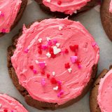 Rich chocolate sugar cookies are topped with a creamy buttercream frosting for the perfect Frosted Chocolate Sugar Cookies. Perfect for Valentine's Day, or any day for that matter!