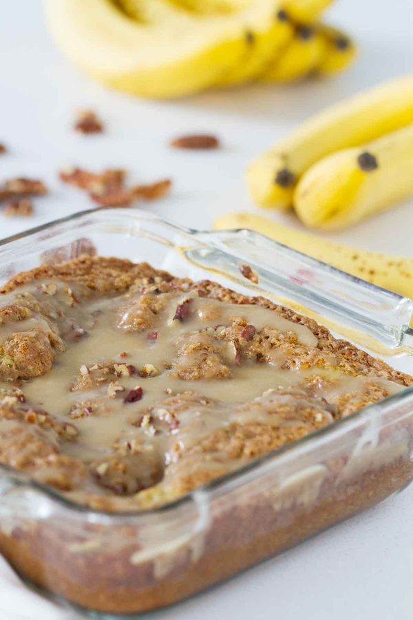 Have leftover bananas sitting around? Turn them into this Banana Coffee Cake. And don't skip out on the honey glaze - it totally makes this breakfast cake!